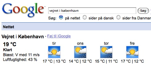 Google Onebox p dansk