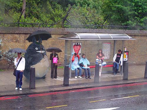 Totoro waiting at the bus
